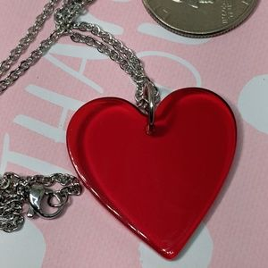 Cherry Red Clear Lucite Love Heart Steel Necklace